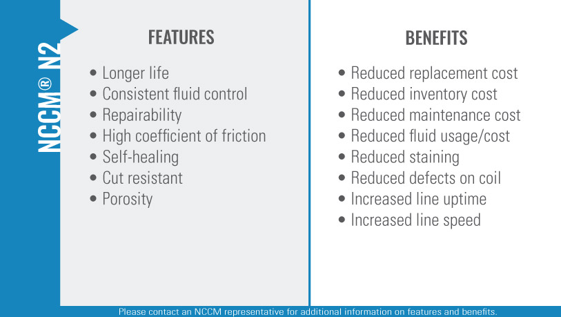 Chart listing the features and benefits of the NCCM<sup>®</sup> N2 nonwoven roll.""