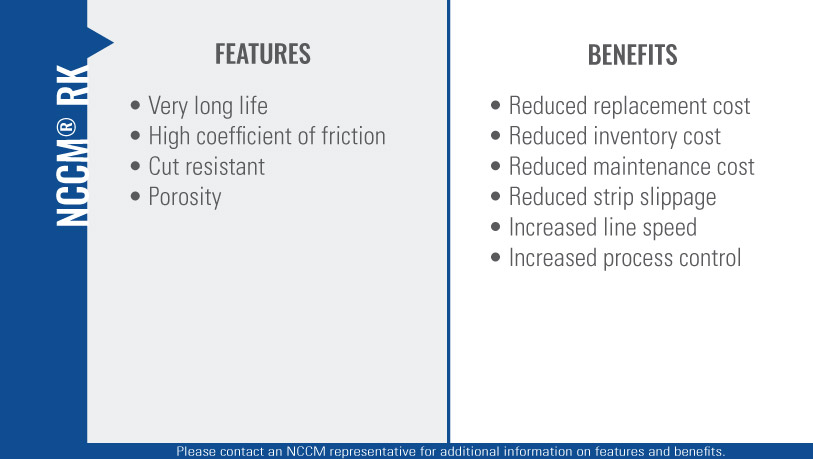 Chart listing the features and benefits of the NCCM<sup>®</sup> RK nonwoven roll.""