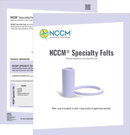 Cover and first page of the NCCM® Specialty Felts data sheet