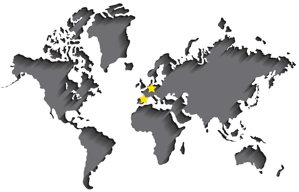World map showing NCCM Company European plant, service center and sales office in Spain and the international sales office in Germany