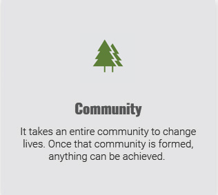 Two green tree icons representing Community